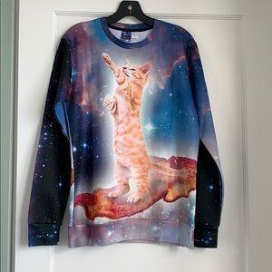 Sweaters - Galaxy Cat on Bacon Sweatshirt Size M
